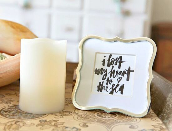 Beach Quote Frame: I lost my heart to the sea: http://beachblissliving.com/beach-vintage-style-home/