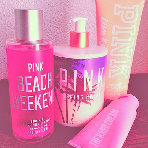 PINK Summer. Everything you need to look and smell beautiful who can't moisturise your body without a Victoria secret body lotion x
