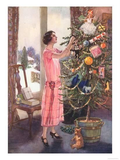 Trees Decorations Magazine Uk 1920 Giclee Print Art Com Christmas Scenes Vintage Christmas Images Christmas Postcard