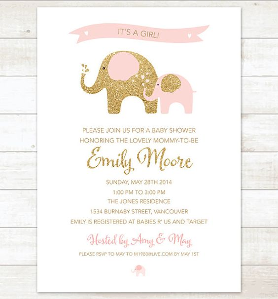 pink and gold elephant baby girl shower invitation pink gold glitter