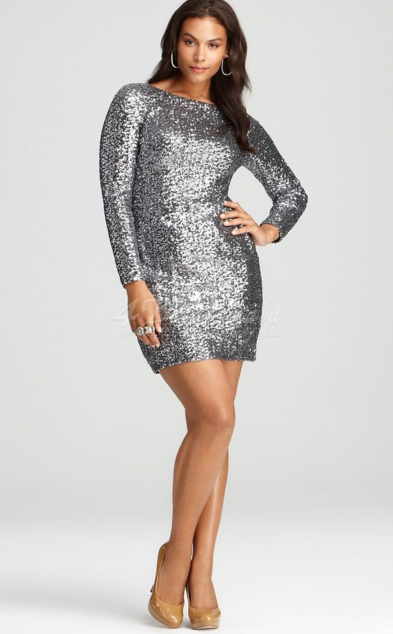 Sheath/Column With Sleeves Short/Mini Sliver Sequined Plus Size Dresses(PSD009)