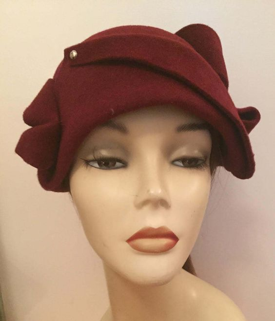 Velour Free Form Draped Cloche with Buttons by Artikalnyc on Etsy