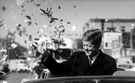 Paul Schutzer. Dem. Pres. Candidate John Kennedy Showered with Confetti During Campaign