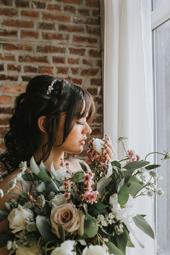 Wedding Hairstyles Bangs Weddinghairstyles Wedding Hair Down Bridal Hair Pieces Wedding Half Updo