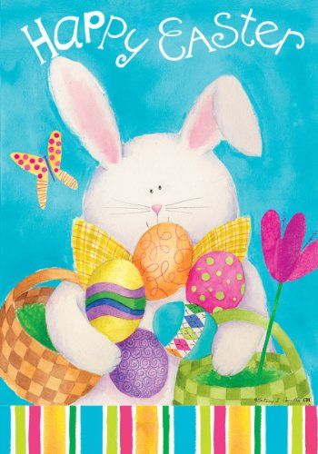 Happy Easter Bunny House Flag: