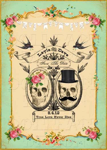 Printable Save The Date Cards - Digital Download - Gothic Victorian Skull Day of The Dead Vintage Wedding - Personalized. $4.99, via Etsy.