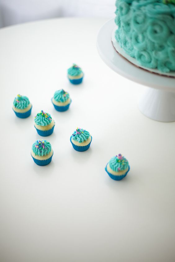 blue mini cupcakes with sprinkles