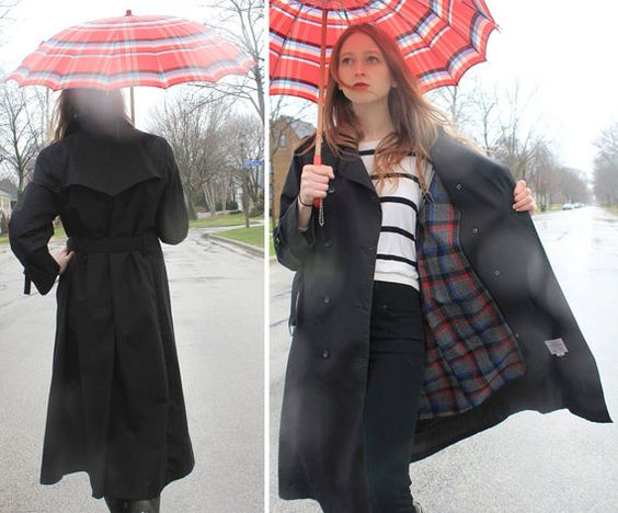 Noir Black double breasted LONDON FOG RAIN Coat by HarlowGirls, $68.00