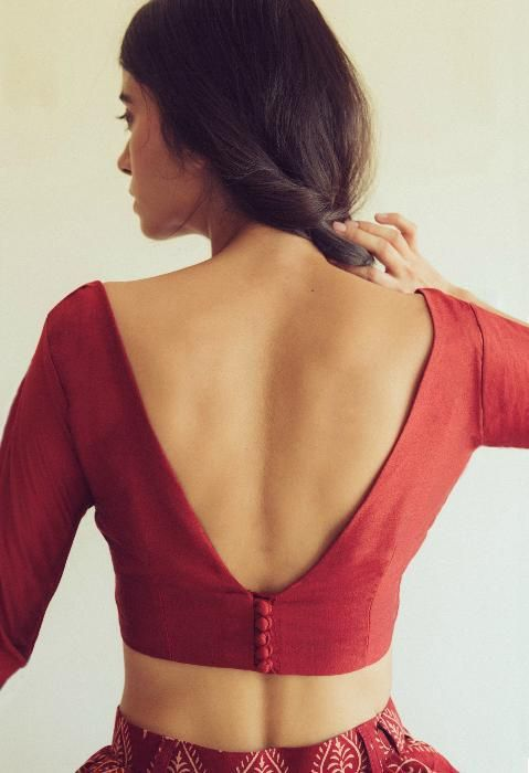 Red Silk Saree Blouse Designs Back Neck