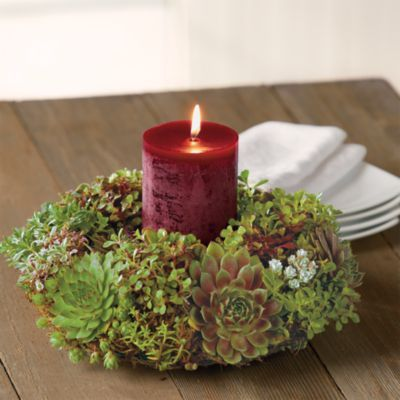 Send some lovely LIVING holiday decor as a Christmas gift. Succulent Holiday Centerpiece   Christmas Wreaths Gifts   Harry & David