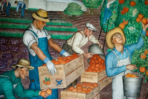 Coit tower picking oranges diego rivera for Coit tower mural artists