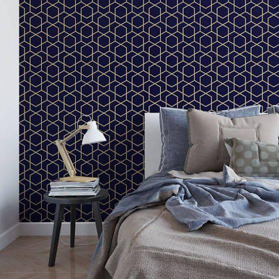 dark blue wallpaper | White duvet, Temporary wallpaper, Gold ...