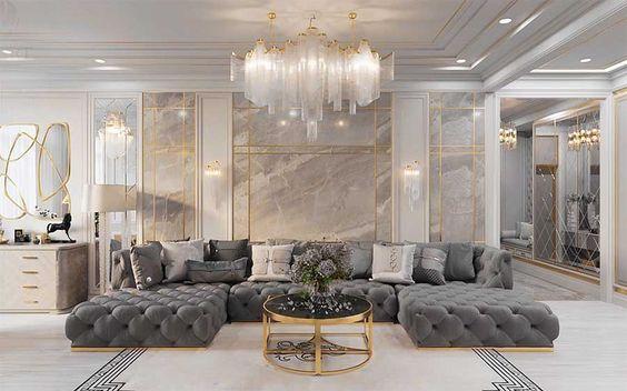 Majestic Modern Luxury living room decor with restoration hardware soho sectional sofa replica, glam luxury decor, palatial decor.