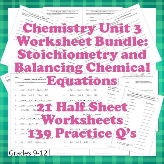 Worksheets 10th Grade Chemistry Worksheets chemistry worksheets 3 for interactive notebooks stoichiometry and balancing chemical equations 21 different practice problem half page that work really