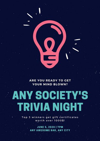 Neon Pink And Teal Light Bulb Trivia Night Poster Poster Template Poster Design Software Trivia Night
