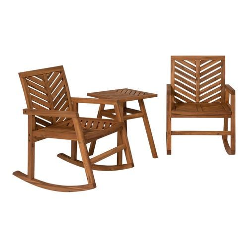 Royal Teak Collection Teak 3 Piece Patio Rocking Chair Set W Side Table By Rkc 2 Miast Patio Rocking Chairs Rocking Chair Teak