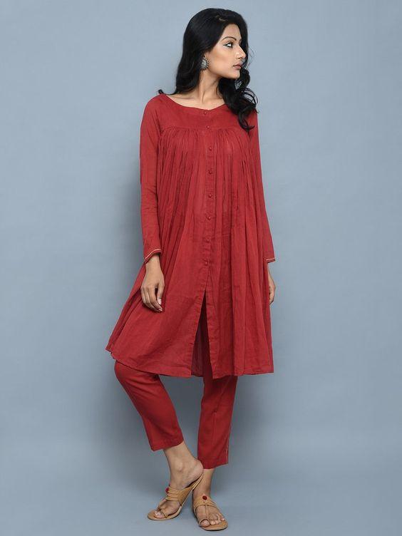 Maroon Cotton Kedia Style Kurta with Pants - Set of 2