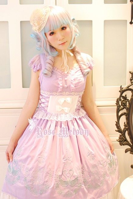 Rose Melody Swan Princess Embroidery JSK