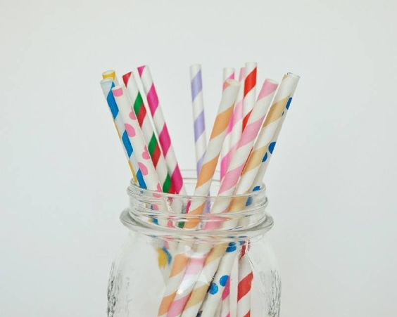 Rainbow straws in a jar
