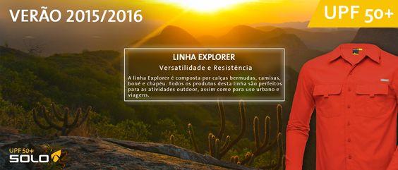 Banner Linha Explorer Camisas, Calças, Boné e Chapéu. Proteção UPF50+
