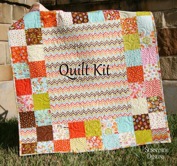 Baby quilt kit wrens friends gina martin moda fabrics chevron floral orange green brown - Do it yourself moda ...