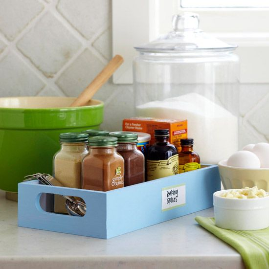 """Put frequently used items in a """"baking box"""" that can be pulled out all at once. (Baking soda, vanilla, cinnamon, etc.) Saves multiple trips to the cabinet/pantry."""