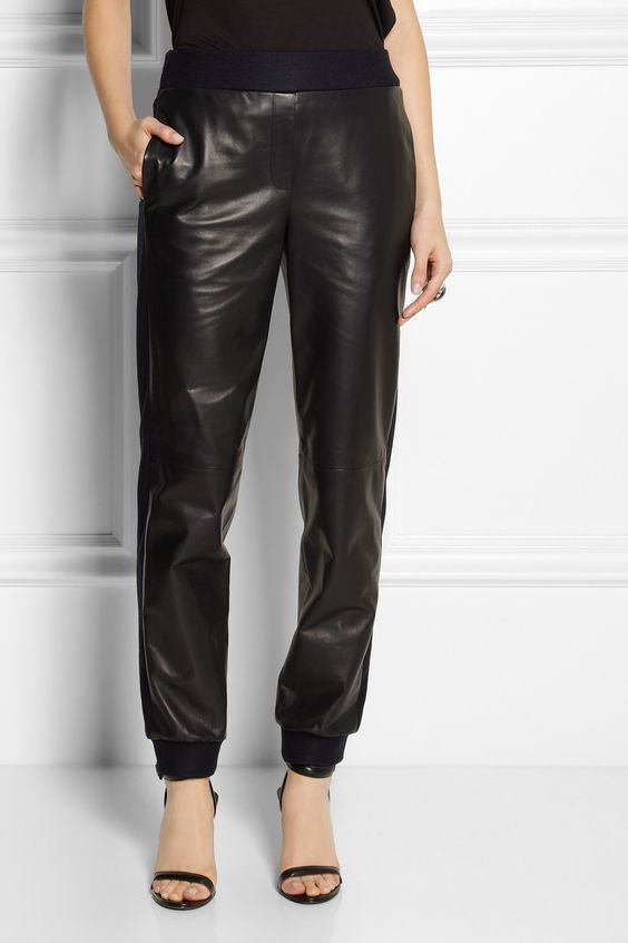 Reed Krakoff | Felt-trimmed leather tapered pants...leather bottoms it was only a matter of time ey!!! but I do think with a burst of coloured heel sandals this could make a nice casual (but not tracksuit casual) outfit!