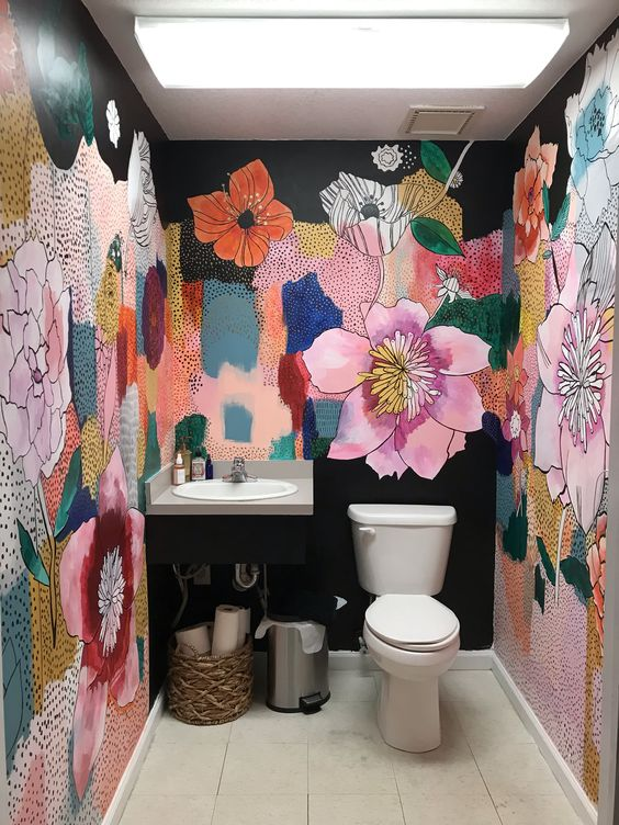 Floral Hand painted Mural in a bathroom by Artist Jill Block
