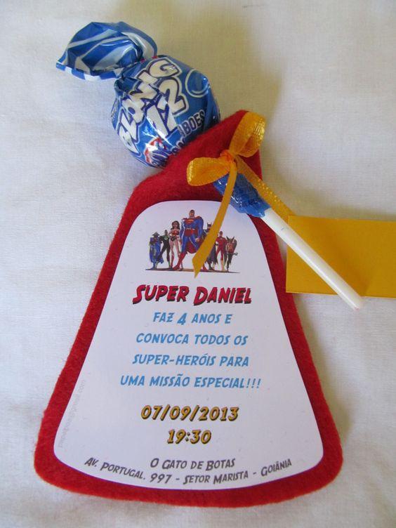Convite Pirulito Super-herois