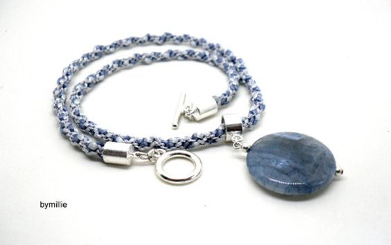 Blue and silver kumihimo braided necklace~Blue agate pendant necklace~Kumihimo necklace~Kumihimo jewellery~Agate necklace~Pale blue necklace on Etsy, $34.44