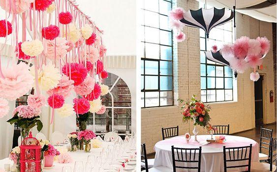Помпоны из бумаги — великолепное украшение для места торжества или для комнаты невесты