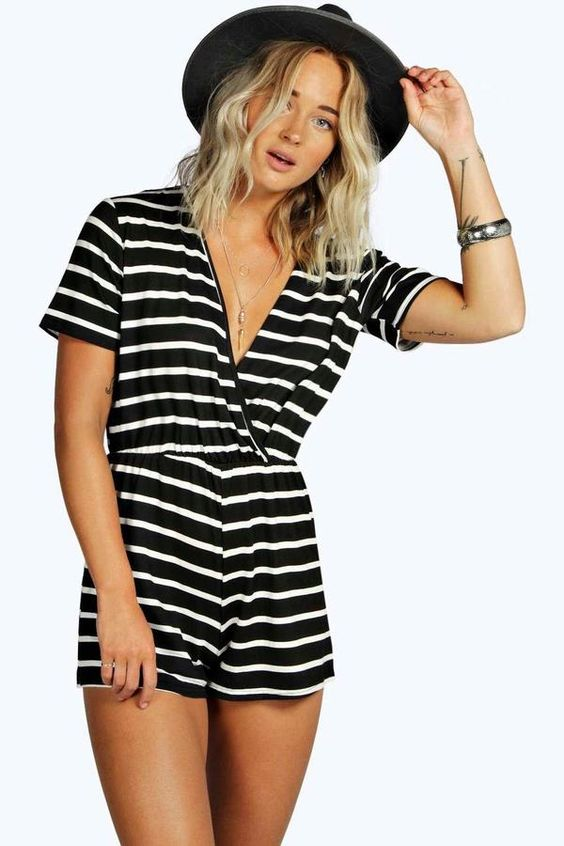 boohoo Mia Wrap Front Capped Sleeve Striped Playsuit