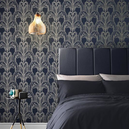 Art Deco Midnight Wallpaper Large Art Deco Wallpaper Blue Wallpapers Brown Wallpaper