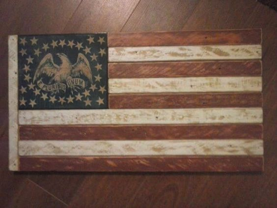 Antique Wood Civil War Era Flag--handmade from genuine recycled wood