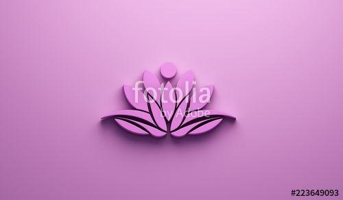 Pink Lotus Person Logo 3d Render Illustration Spa Lotus
