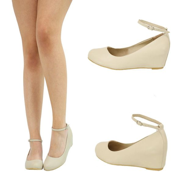 Details about BEIGE/NUDE MARYJANE ANKLE STRAP HIDDEN LOW MED WEDGE ...
