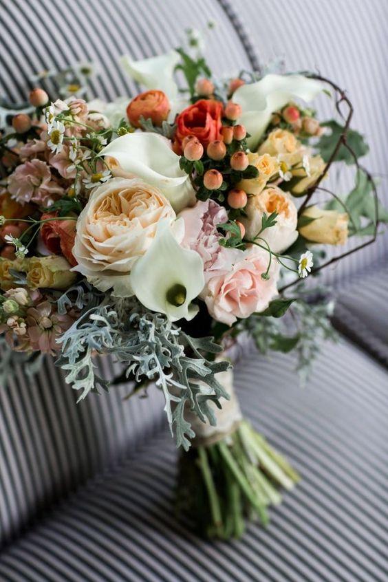 Wild and wonderful peach and blush bouquet! #cedarwoodweddings Marvelous Mint and Gray Wedding :: Emily+Jon | Cedarwood Weddings