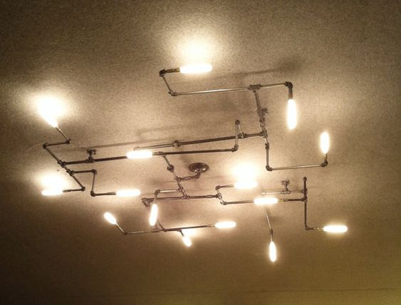 The maze pipe light chandelier 1 0 maze caves and the white for Pipe ceiling lighting