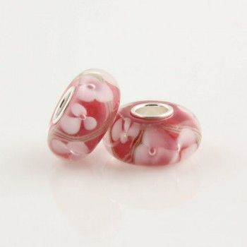 Silver Colored Glaze Pink Flower bead - Glass Silver Beads I (7*14) - Beads - LYDIA JEWELLERY