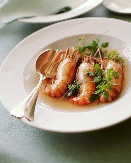 Head-On Shrimp in Tomato Chervil Broth Recipe