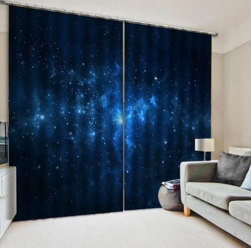 Kids Room Space Starry Cool Dark Blue Curtains Blackout Boys