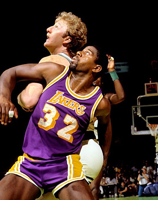Magic Johnson and Boston Celtics Larry Bird fighting for position in Game 2 of the 1985 NBA Finals