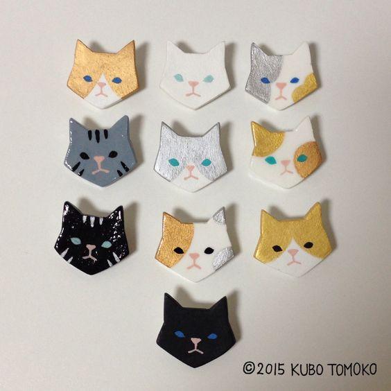 粘土ブローチ  #clay #handmade #craft #brooch #animal #TomokoKubo #ハンドメイド #クボトモコ #ブローチ #動物 #粘土