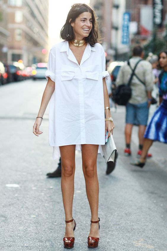 Leandra Medine channeled Tom Cruise's Risky Business days in a white shirtdress. #streetstyle: