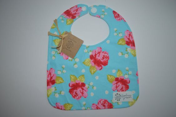Rose baby bib aqua blue and red vintage by GoodnessGrayson on Etsy