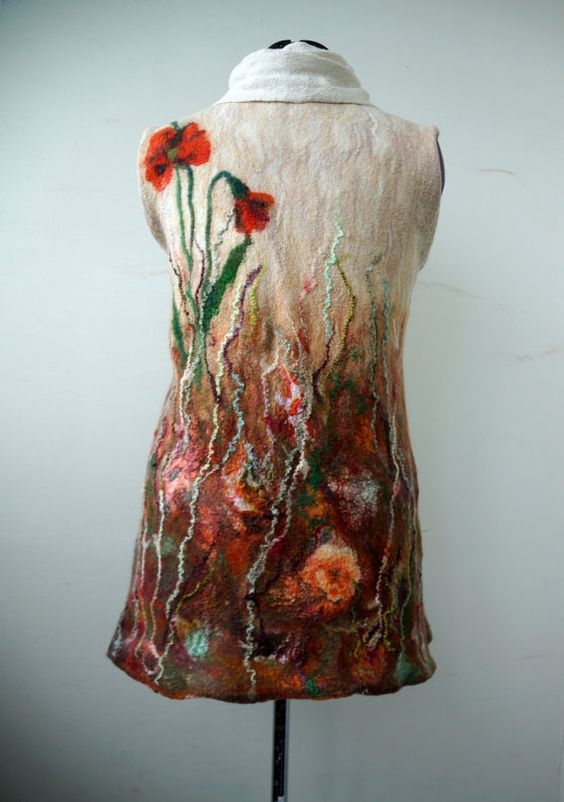 Felted tunic dress poppies autumn fashion by FfeltT on Etsy