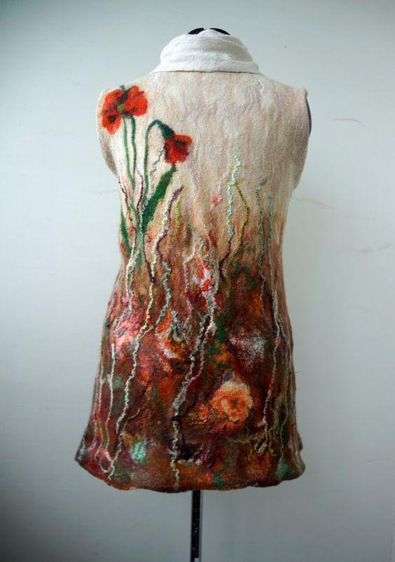 Felted tunic dress poppies autumn fashion by FfeltT on Etsy