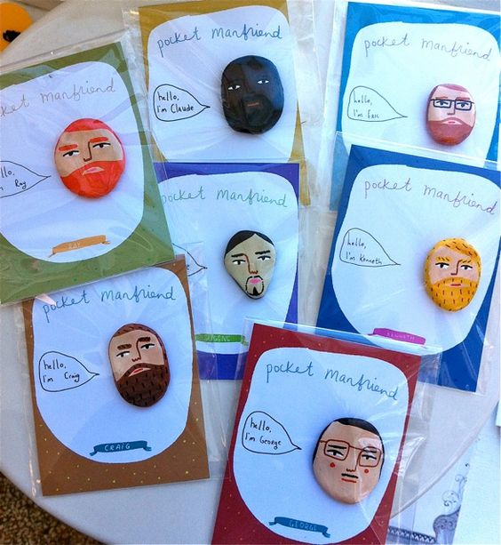 Nicola Rowland's Pocket ManFriends. $12 each.
