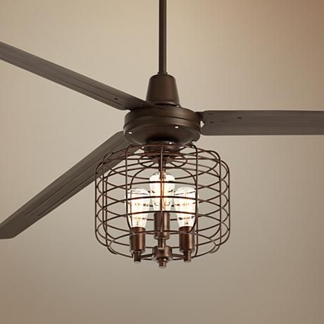 Ceiling fans industrial and bronze on pinterest - Industrial style ceiling fan with light ...