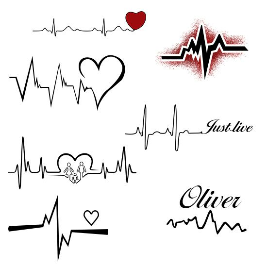 Heartbeat With Heart Tattoo Designs